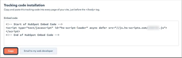 HubSpot Tracking code