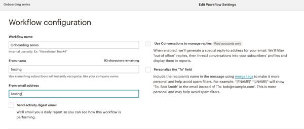 Mailchimp Workflow Configuration