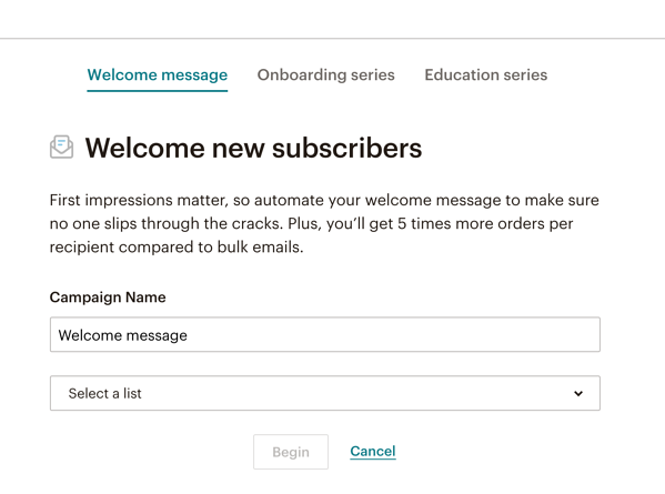 Mailchimp Welcome Subscribers
